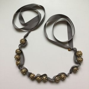 J. CREW RIBBON NECKLACE with JEWELED ORBs Grey